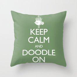 Keep Calm & Doodle On (Green) Throw Pillow
