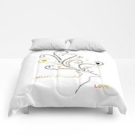 Typographic Reindeer Love - White Comforters