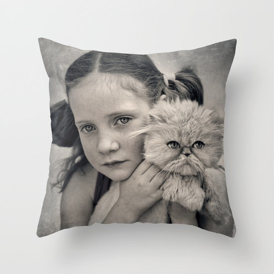 A Girl and her Cat Throw Pillow