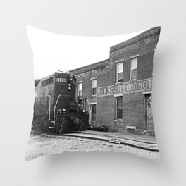 Train and Sherwood Hotel Throw Pillow