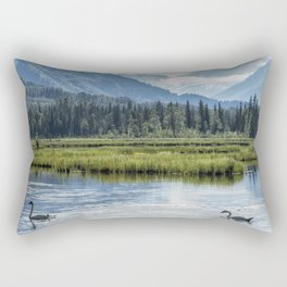 Swans on Tern Lake Rectangular Pillow