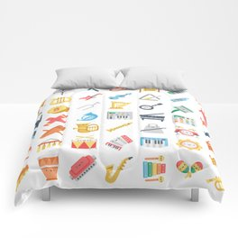CUTE MUSICAL INSTRUMENTS PATTERN Comforters