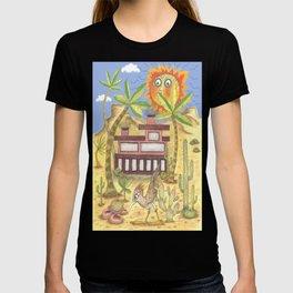 da147577 desert modernism, blue beige yellow green T-shirt