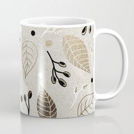 Metallic Flora // Floral design with simple leaves, blacks, whites and gold metallics Coffee Mug