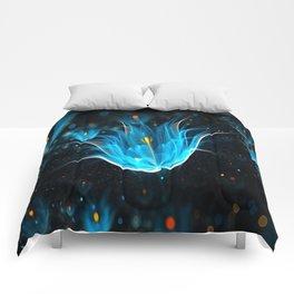 3D Blue Flower V4 Comforters