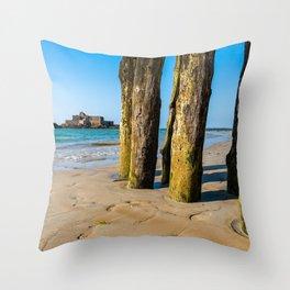 Saint Malo beach at low tide Throw Pillow