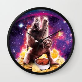 Space Cat Llama Sloth Riding Nachos Wall Clock