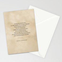 Haruki Murakami Quote 01 - Typewriter Quote on Old Paper - Minimalist Literary Print Stationery Cards