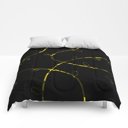 Jagged leaves, yellow Comforters