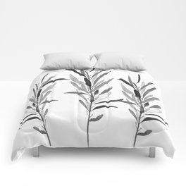 Eucalyptus Branches Black And White Comforters