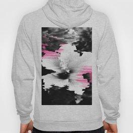 Floral glitch | modern black white flower photography pink watercolor brushstroke glitch effect Hoody
