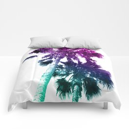 Retro Vintage Ombre Pop Art Los Angeles, Southern California Palm Tree Colored Print Comforters
