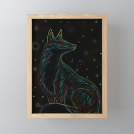 Neon Fox Framed Mini Art Print