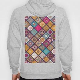 Flowers In Squares Pattern Hoody