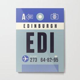Baggage Tag A - EDI Edinburgh Scotland Metal Print