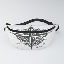 """Mandala Compass Rose"" Hand-Drawn by Dark Mountain Arts Fanny Pack"