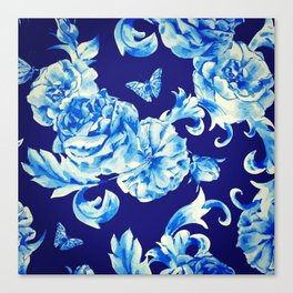 Blue Flowers & Butterflies Pattern Canvas Print