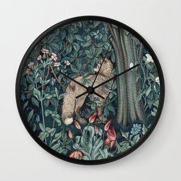 William Morris Forest Fox Greenery apestry Wall Clock