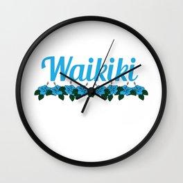Fresh Hawaiian Style Tshirt Design Waikiki Wall Clock