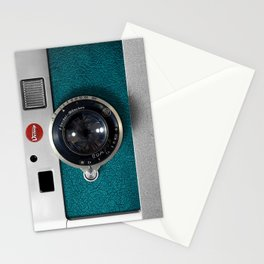 Blue Teal retro vintage camera with germany lens Stationery Cards