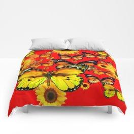 CHINESE RED YELLOW SUNFLOWERS &  BUTTERFLIES ART Comforters