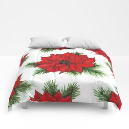 Poinsettia and fir branches pattern Comforters