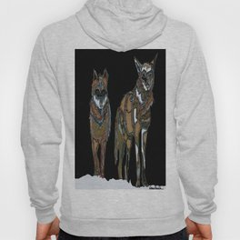 Two wolves in the snow Hoody