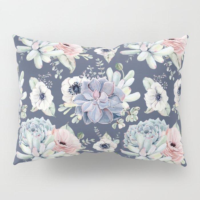 Beautiful Succulent Garden Navy Blue + Pink Pillow Sham