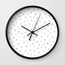 ABC alphabet back to school type pattern Black & White Wall Clock