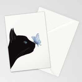 Cat and Butterfly Stationery Cards