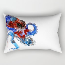 Octopus blue red octopus artwork deep blue navy blue burgundy red sea world beach Rectangular Pillow