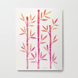 Bamboo Stems – Pink Palette Metal Print