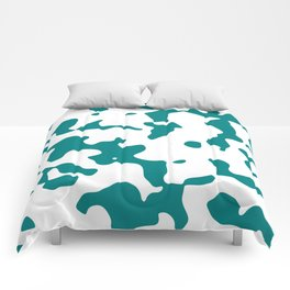 Large Spots - White and Dark Cyan Comforters