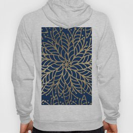 Modern chic navy blue faux gold floral mandala Hoody