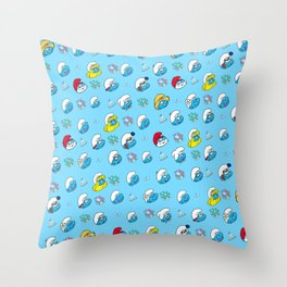 Smurfs Pattern Throw Pillow