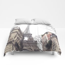 Paris streets, Eiffel tower, city skyline, industrial fine art photo, shabby chic Comforters