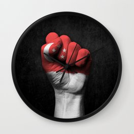 Singapore Flag on a Raised Clenched Fist Wall Clock