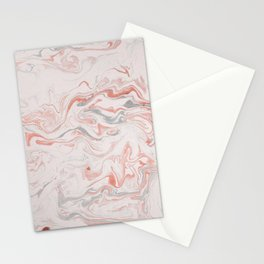 Marble Living Coral Texture Stationery Cards