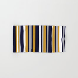 Modern Stripes in Mustard Yellow, Navy Blue, Gray, and White. Minimalist Color Block Hand & Bath Towel