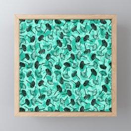 Ginkgo Biloba linocut pattern MINT GREEN Framed Mini Art Print
