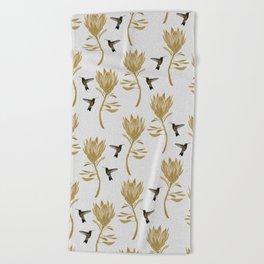 Hummingbird & Flower I Beach Towel