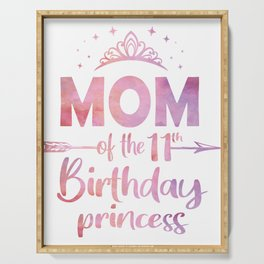 Mom Of The 11th Birthday Princess Girl 11 Years Old B-day print Serving Tray
