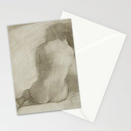 Charcoal Female Nude Drawing Sitting Woman Back View Stationery Cards
