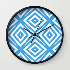 Blue and WHite Diamond Abstract Wall Clock