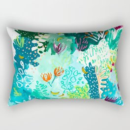 Twice Last Wednesday: Abstract Jungle Botanical Painting Rectangular Pillow