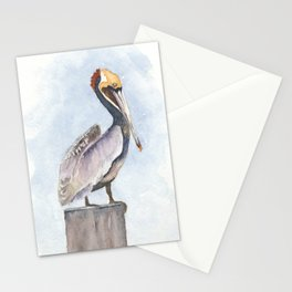 Pelican on a Perch Watercolor Art by Liz Ligeti Kepler Stationery Cards