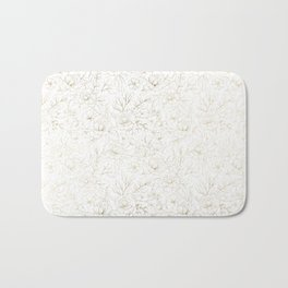 Elegant simple modern faux gold white floral Bath Mat