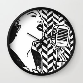 Lady Day (Billie Holiday block print blk) Wall Clock