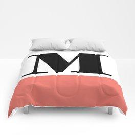 Monogram Letter M-Pantone-Peach Echo Comforters