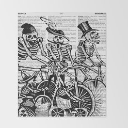 Calavera Cyclists | Black and White Throw Blanket